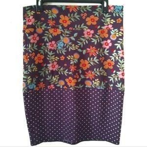 Lularoe Cassie Pencil Skirt Floral Polka Dots M